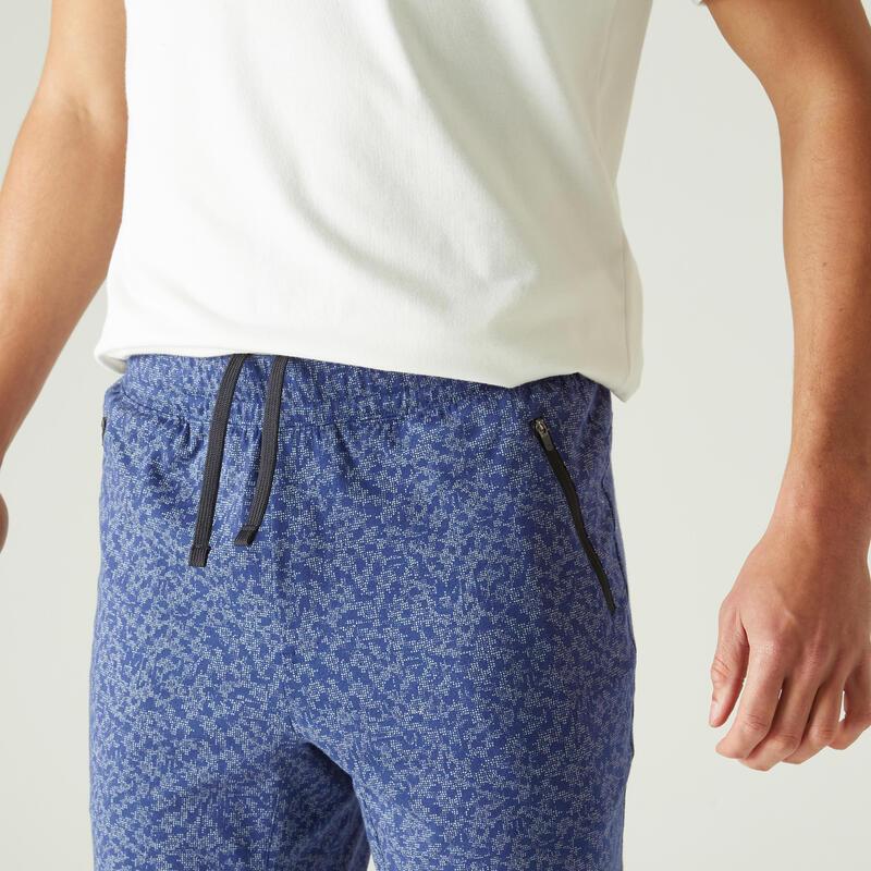 Short Coton Extensible Fitness Long avec poches zippées Slim Bleu avec Imprimé