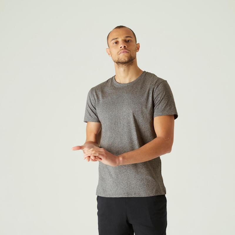 T-shirt fitness Sportee manches courtes slim coton col rond homme gris