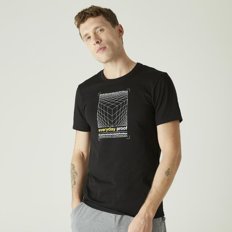 T-shirt voor pilates en lichte gym heren 500 rekbaar katoen slim fit zwart