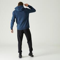 Hoodie met rits voor workout heren 500 blauw