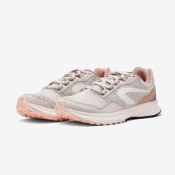 女款跑鞋Kalenji Run Active Grip - 米色