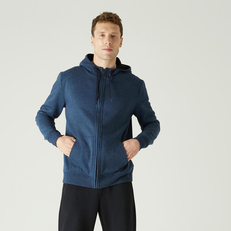 Hoodie met rits voor fitness molton blauw