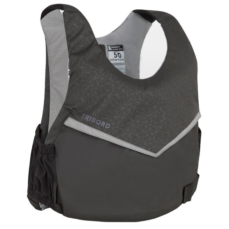 Dinghy sailing buoyancy aid vest 500 BA 50 newtons - black