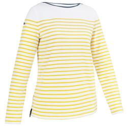T-Shirt Manches longues - marinière de voile femme Sailing 100 Jaune