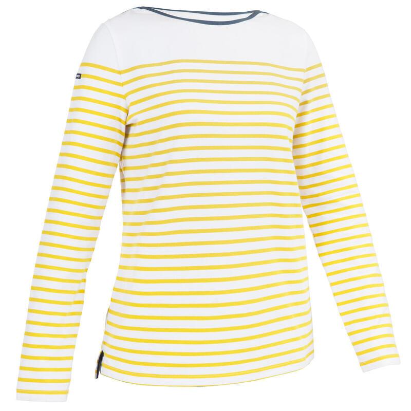 Streepjesshirt met lange mouwen voor dames Sailing 100 geel