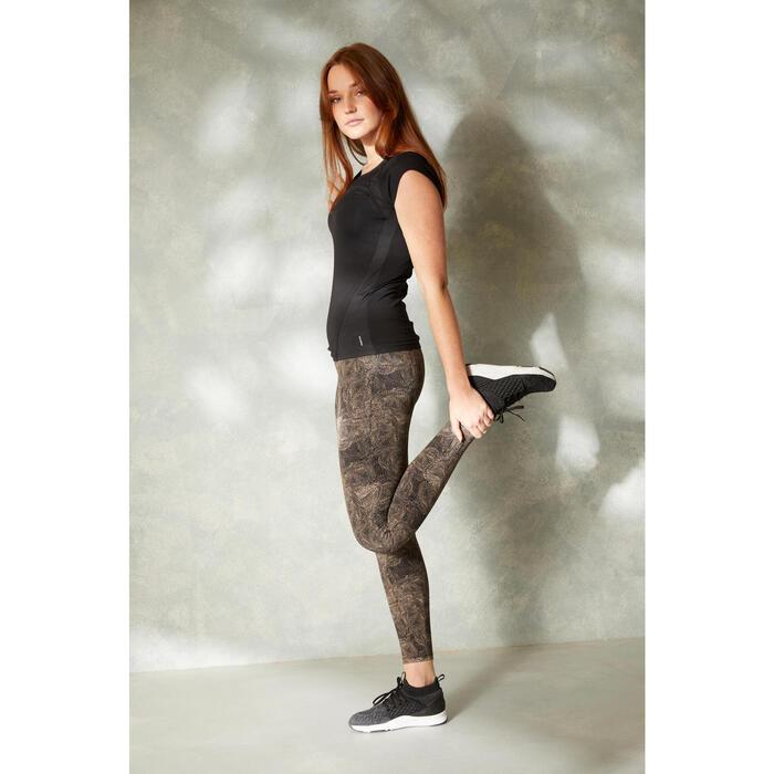 塑身棉質健身緊身褲 - 灰色印花