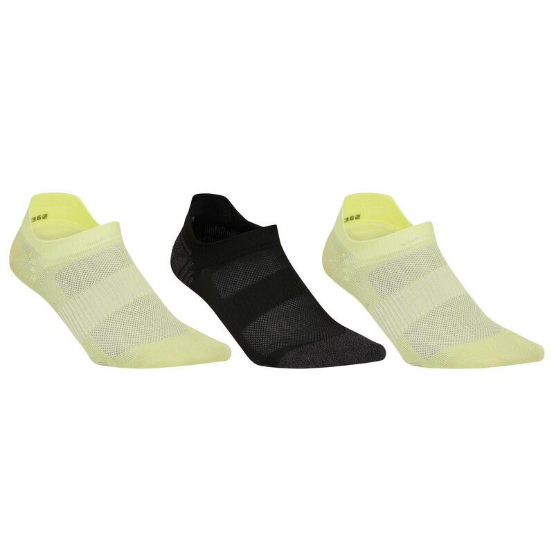 Sokken sportief wandelen nordic walking WS 500 Invisible Fresh geel/zwart/geel