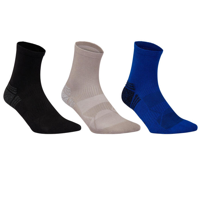 Walkingsocken WS 100 Mid 3er-Pack schwarz/grau/blau