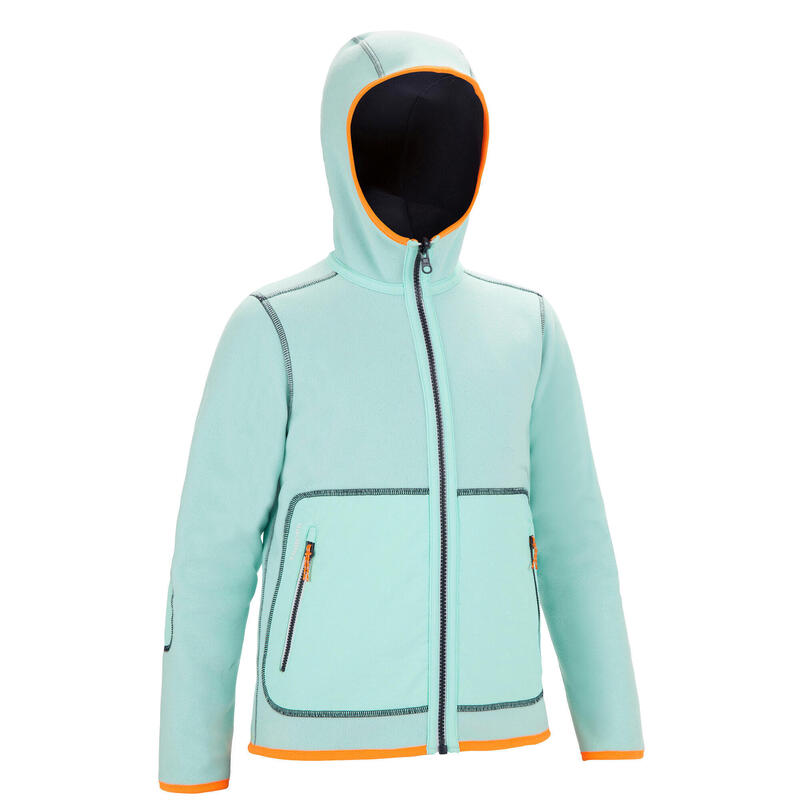 Fleece voor zeilen kinderen Sailing 500 omkeerbaar marineblauw/mintgroen