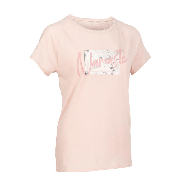 Women's Short-Sleeved Gentle Yoga T-Shirt - Mandala Pink