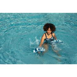 Maillot de bain 1 pièce Aquafitness femme Elea wall gris bleu