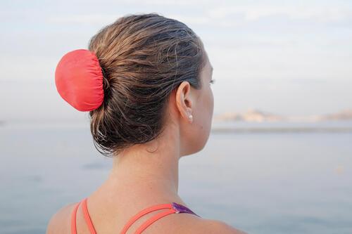 Cache chignon élastique de natation synchronisée artistique - rose corail