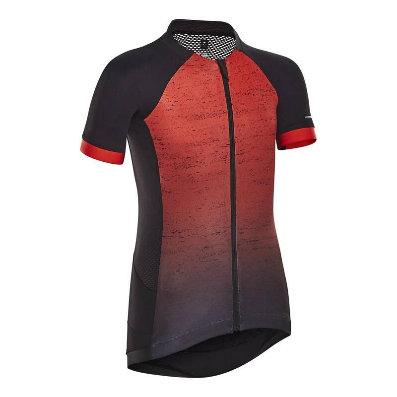 DĚTSKÉ LETNÍ OBLEČENÍ A DOPLŇKY NA HORSKOU A SILNIČNÍ CYKLISTIKU Cyklistika - DĚTSKÝ DRES 900 ČERVENÝ BTWIN - Cyklistické oblečení