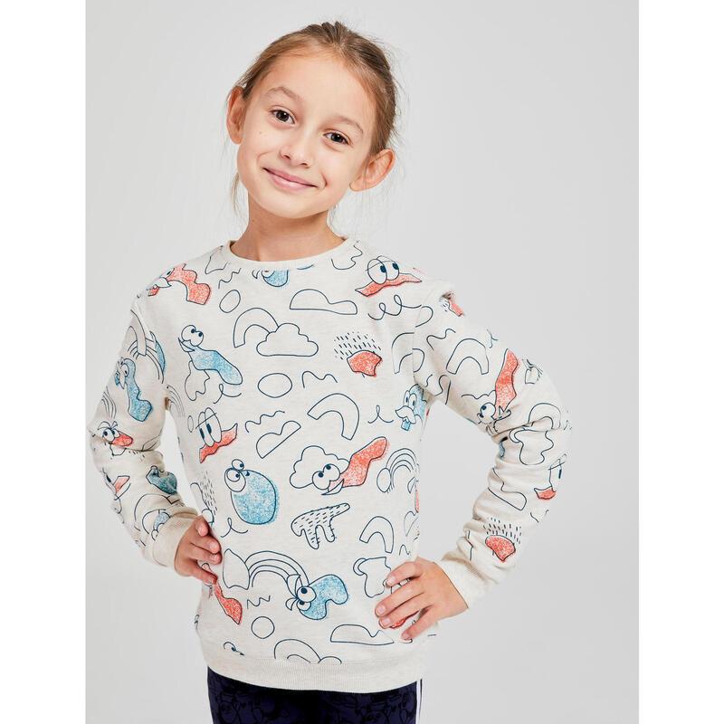 Kindersweater voor baby- en kleutergym Decat'oons beige met print
