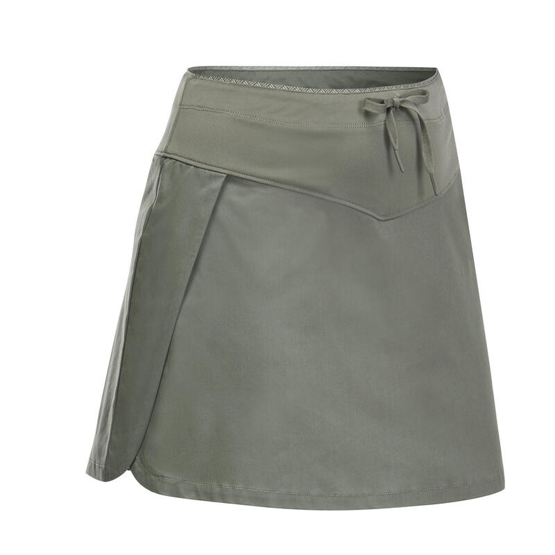 Dámská turistická sukně s kraťasy NH 500 khaki