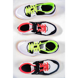 Chaussures de volley-ball junior pour fille à lacets blanches, bleues et roses