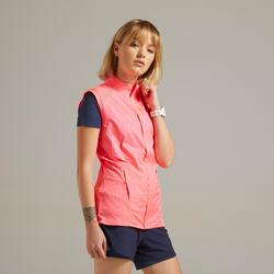 Mouwloos windjack voor hardlopen dames Kiprun Light roze