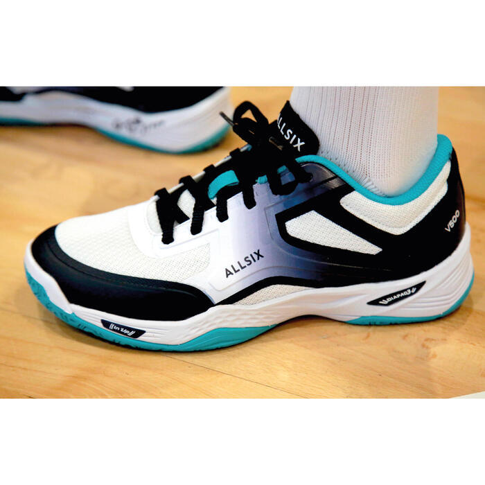 Chaussures de volley-ball V500 femme blanches, bleues et turquoises