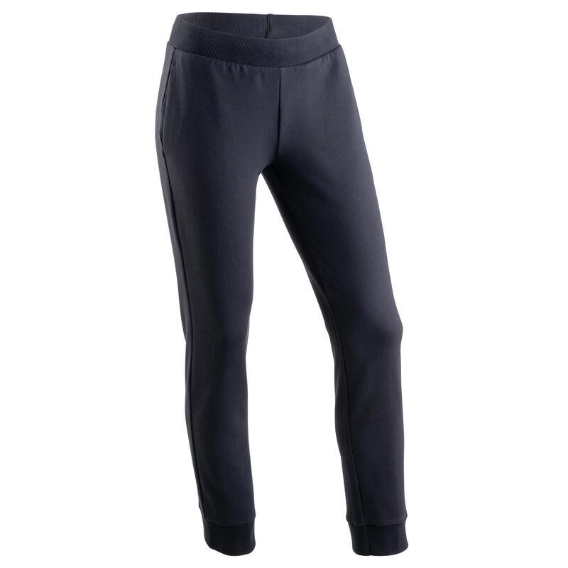 Girls' Warm French Terry Jogging Bottoms 100 - Black/Print