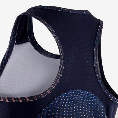 גופייה סינתטית ואוורירית להתעמלות דגם S500 לבנות - נייבי / הדפס