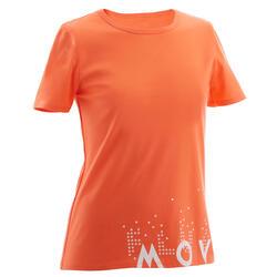 T-Shirt manches courtes 100 fille GYM ENFANT corail imprimé