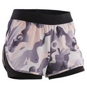 Girls' Breathable Double Gym Shorts W500 - Black/Pink/Grey/Print