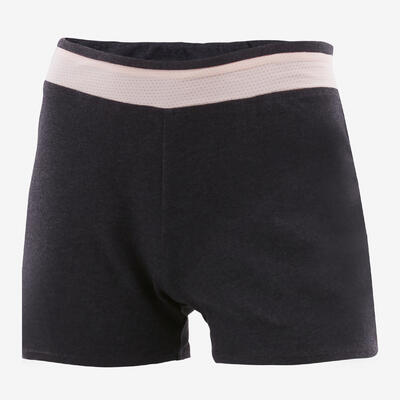 Girls' Breathable Cotton Gym Shorts 500 - Grey/Plain Pink