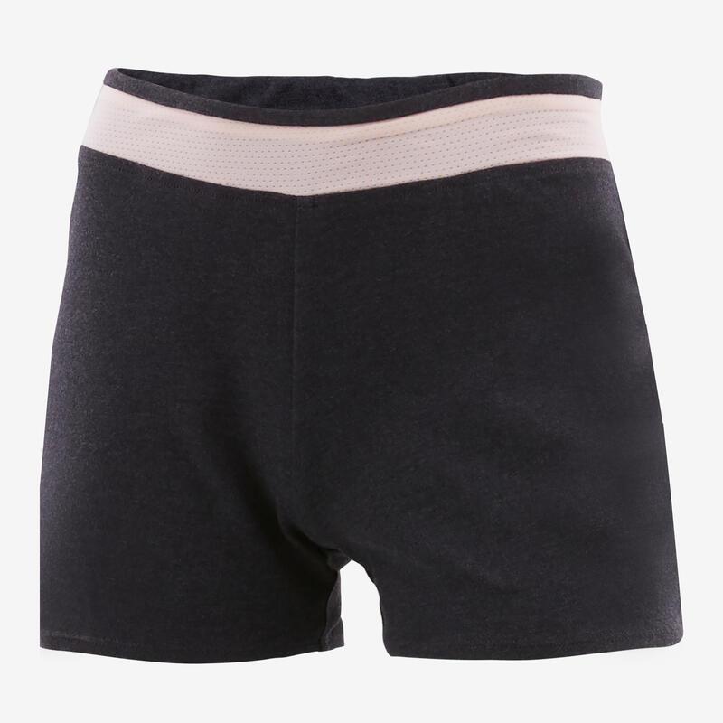 Short coton respirant 500 fille GYM ENFANT gris/rose uni
