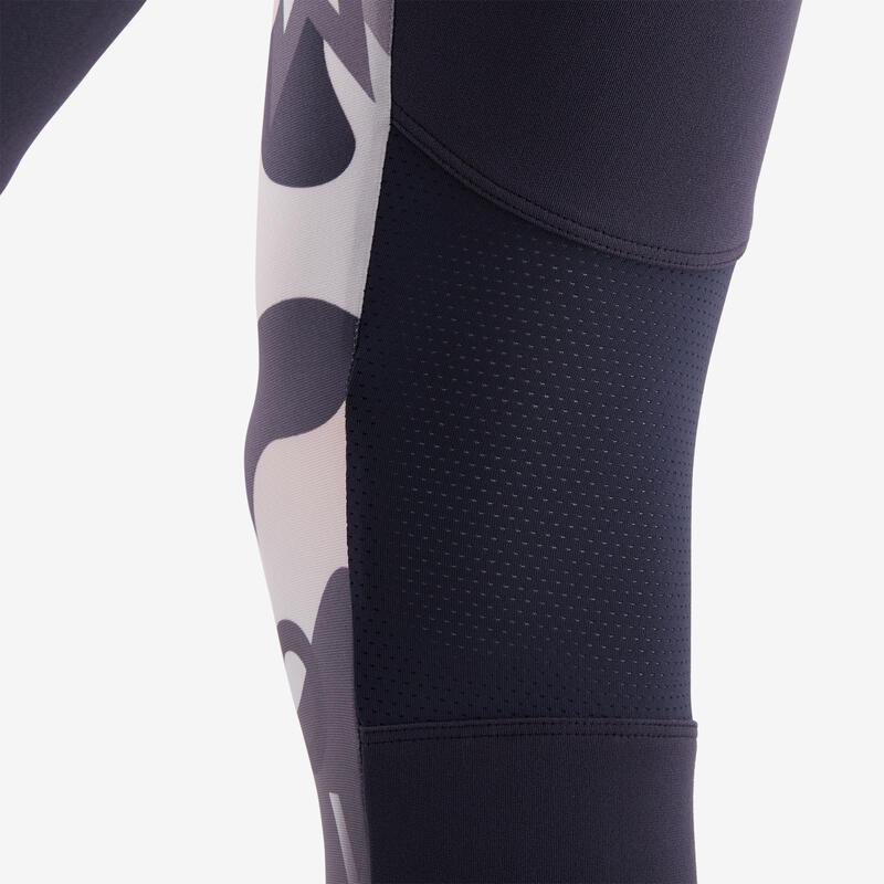 Girls' Breathable Synthetic Leggings - Grey/Pink/Print