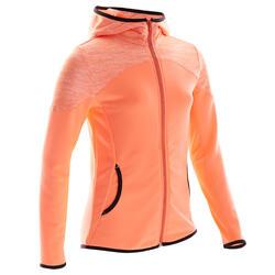 Warm en ademend vest voor gym meisjes S500 synthetisch koraal/schouderprint