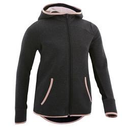 Warme en ademende gymhoodie voor meisjes 500 donkergrijs/roze