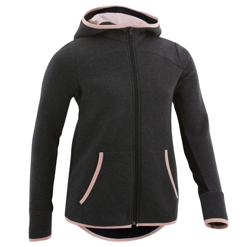 Veste capuche chaude 3/5, coton respirant 500, fille GYM ENFANT gris foncé/rose