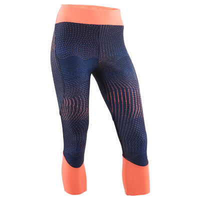 Girls' Breathable Synthetic Cropped Gym Bottoms S500 - Printed Navy/Coral