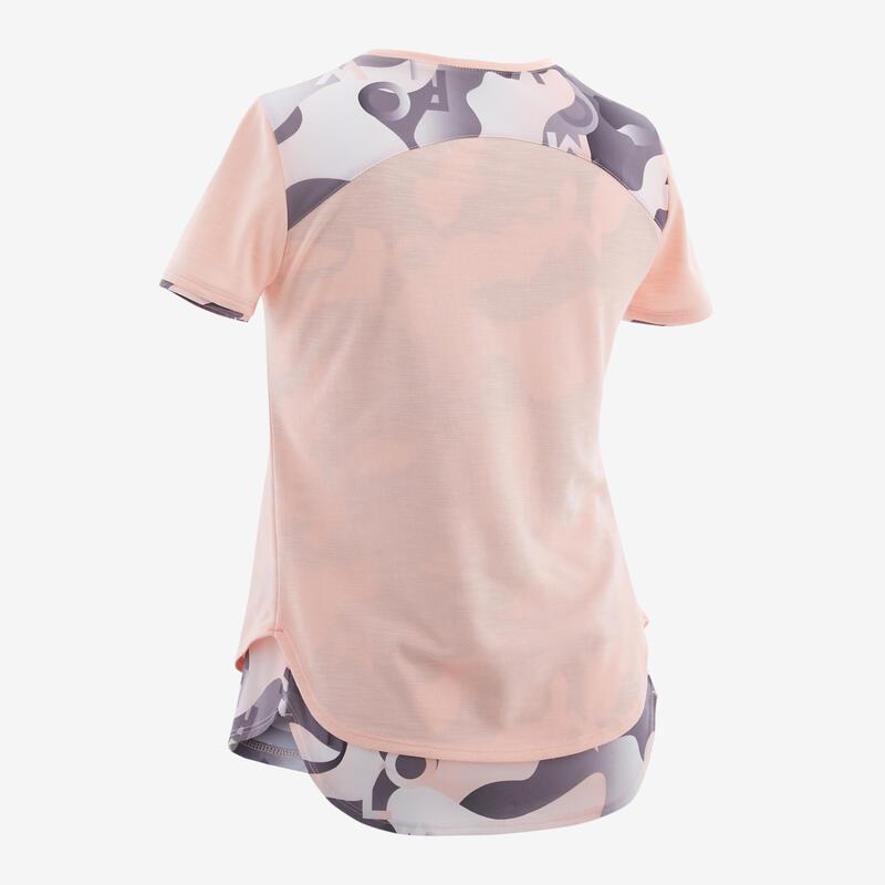 Polera manga corta algodón transp. 500 GYM NIÑO rosa claro gris