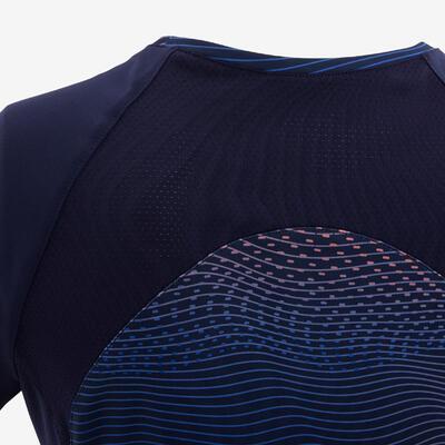 חולצת טי קצרה וסינתטית להתעמלות דגם S500 לבנות - נייבי /הדפס