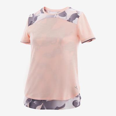 Camiseta man corta algodón transp niños GYM INFANTIL 500 rosado clarito AOP gri
