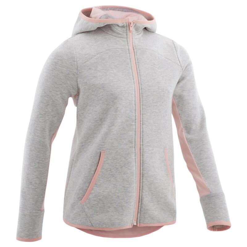 Veste capuche chaude 3/5, coton respirant 500, fille GYM ENFANT gris/rose