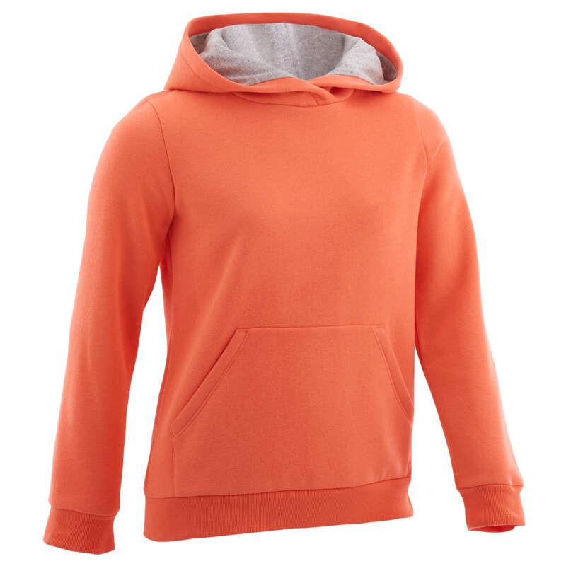 ŠPORTNA OBLAČILA ZA DEKLICE ZA MRZLO VREME Šola se začenja - Pulover s kapuco 100 DOMYOS - Otroški puloverji za telovadbo