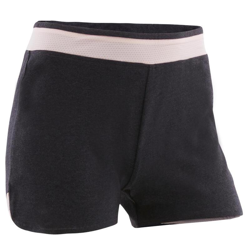 Girls' Breathable Cotton Gym Shorts 500 - Grey/Plain Pink