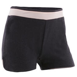 Pantaloncini bambina ginnastica 500 grigio-rosa