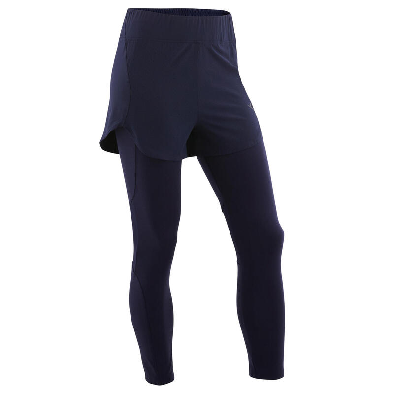 Legging short fille synthétique respirant - S500 bleu marine