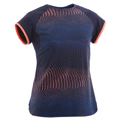 Girls' Breathable Synthetic Short-Sleeved Gym T-Shirt S500 - Navy/Print