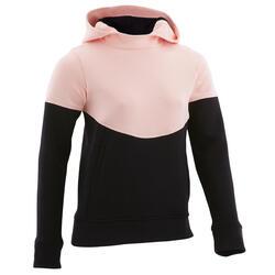 Warme gymhoodie voor meisjes 500 roze en zwart Ritszakken