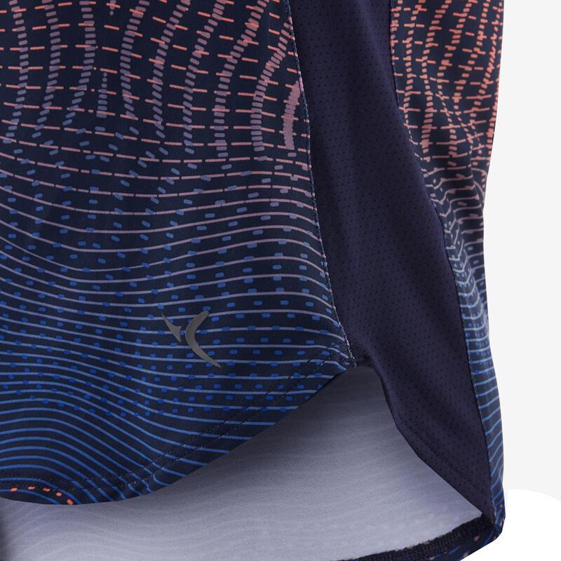 T-shirt synthétique respirant manches courtes S500 fille GYM ENFANT navy imprimé