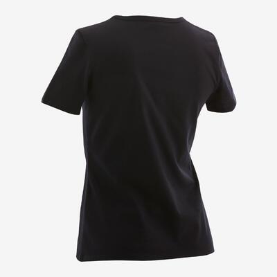 Girls' Short-Sleeved Gym T-Shirt 100 - Black/Print