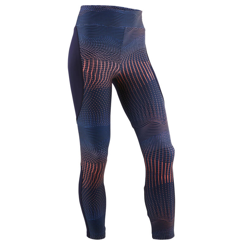 Girls' Synthetic Breathable Leggings - Navy/Print