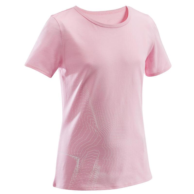 Tricou 100 educație fizică și sport roz cu imprimeu fete