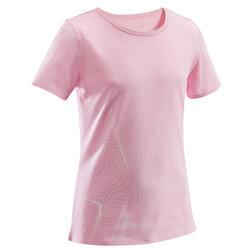 T-shirt Básicas para Criança Impressão Gráfica Rosa Claro