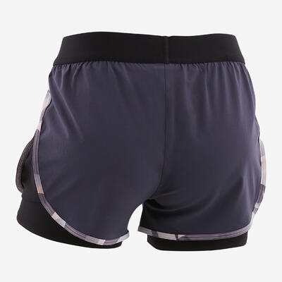 Short doble transpirable W500 niños GIMNASIA INFANTIL negro/rosa/gris estampado