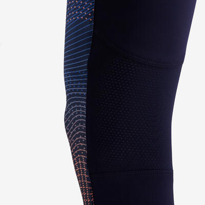 Girls' Breathable Synthetic Gym Leggings S500 - Navy Blue Print